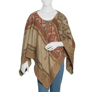 Camel & Red Poncho With Lace Trim & Tassel Tie